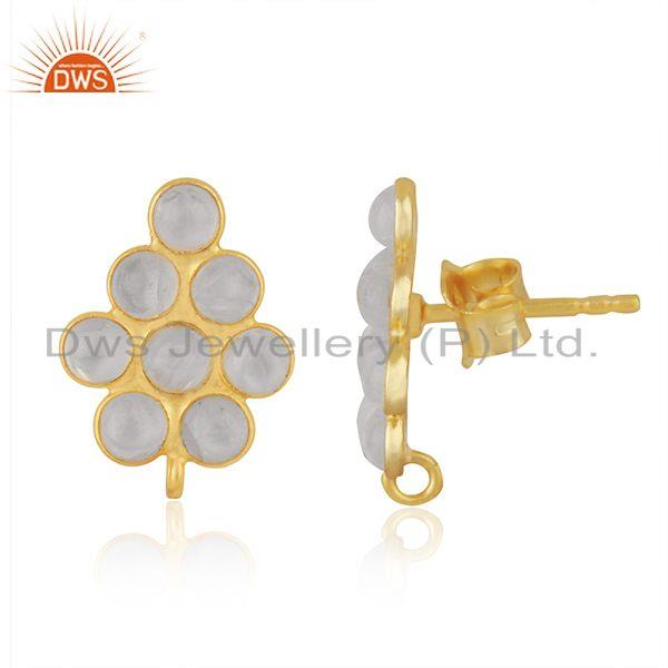 Exporter Rainbow Moonstone Gold Plated 925 Silver Findings Stud Earrings Manufacturer