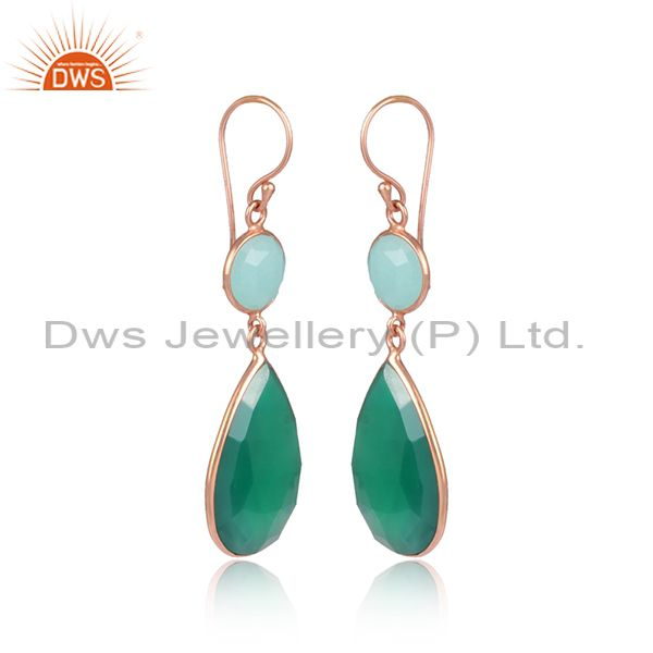 Exporter Green Gemstone Rose Gold Plated 925 Silver Dangle Earrings Suppliers