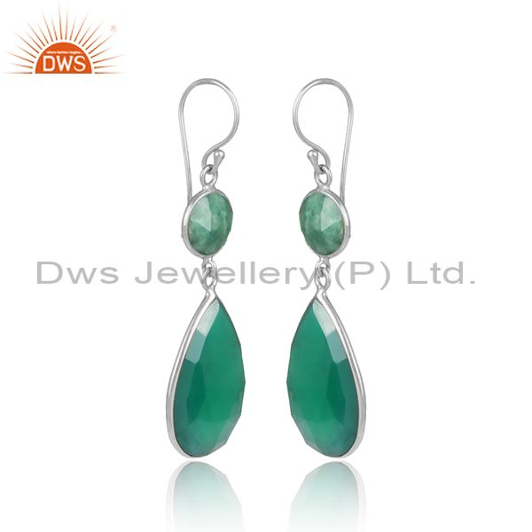 Green onyx amazonite dangle in rhodium on silver 925