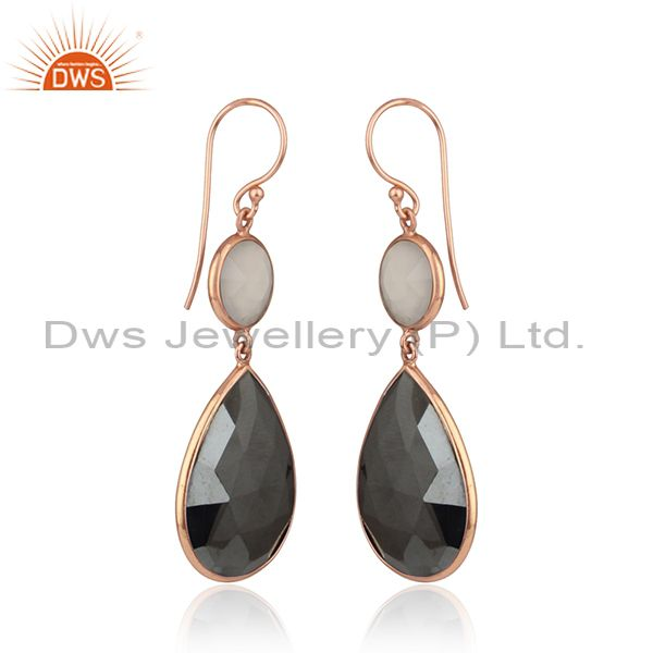Exporter Dyed Ruby Lemon Topaz Rose Gold Plated Silver Dangle Drop Earring