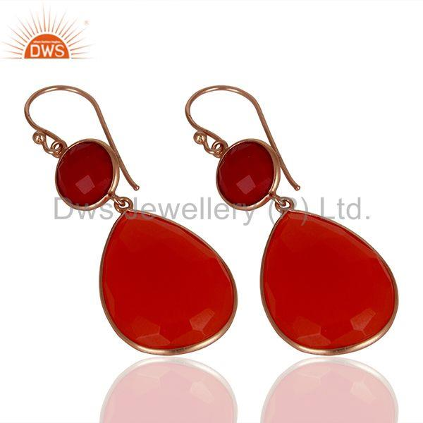 Exporter Red Gemstone Rose Gold Plated Dangle Earrings Jewelry Manufacturer