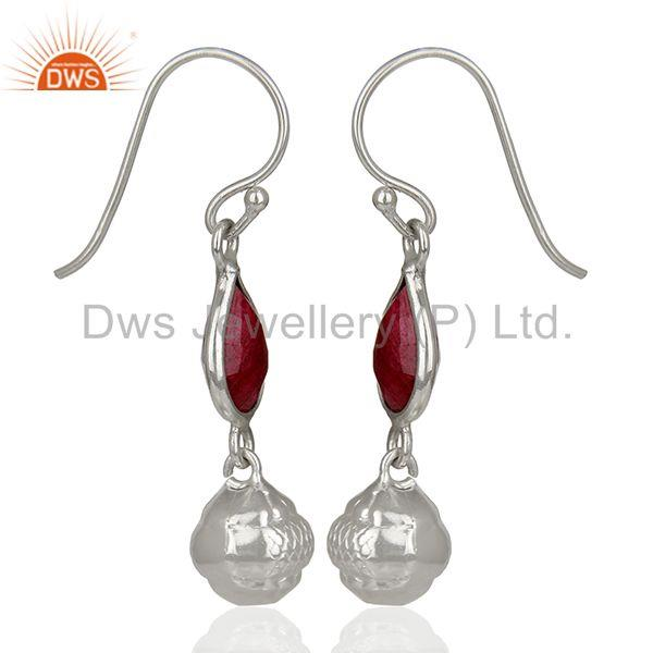 Exporter Filigree Design Round 925 Silver Gemstone Earrings Jewelry Supplier