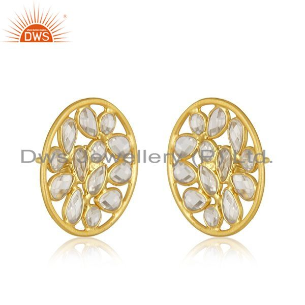 Exporter Floral Design 925 Silver Yellow Gold Plated Round Stud Earrings Manufacturer