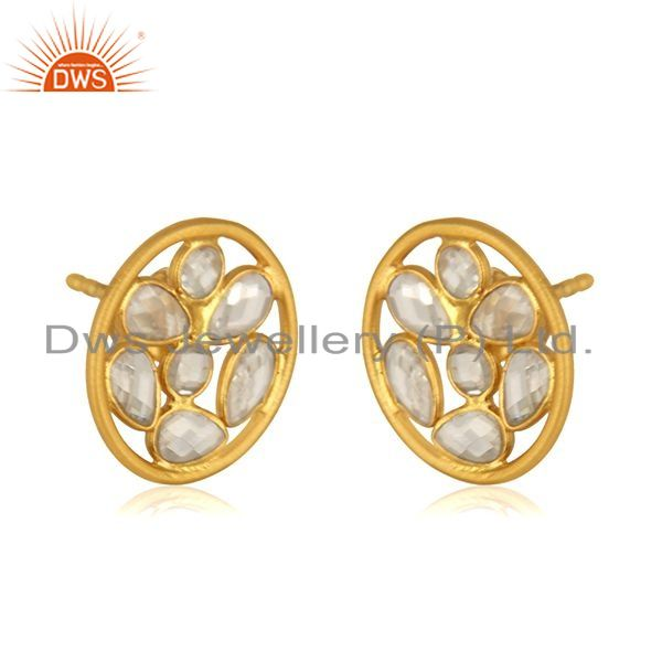 Exporter White Zircon Yellow Gold Plated 925 Sterilng Silver Stud Earrings wholesale