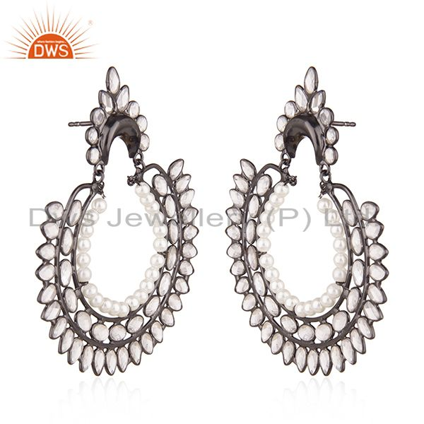 Exporter Black Rhodium Plated 925 Silver Zircon and Pearl Earrings for Womens