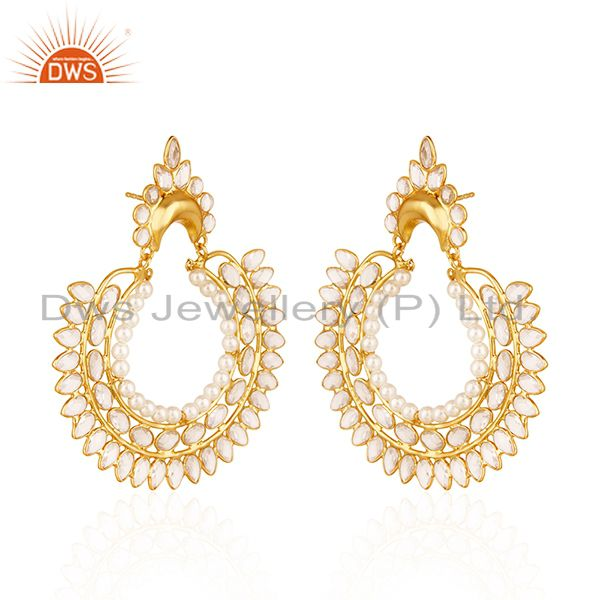 Exporter White Zircon and Pearl Gemstone Gold Plated 925 Silver Traditional Earrings