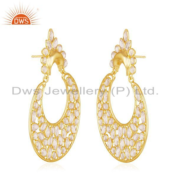Exporter 14k Gold Plated 925 Silver White Zircon Dangle Earrings Jewelry Manufacturer
