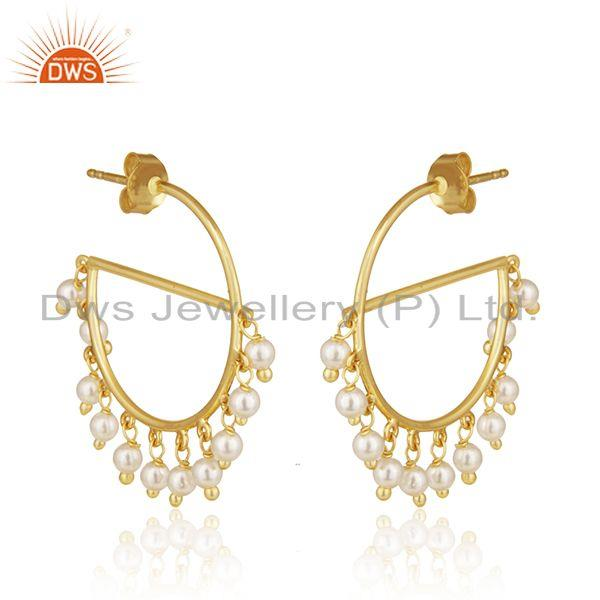 Exporter Gold Plated Sterling Silver Natural Pearl Gemstone Dangle Earrings Wholesale