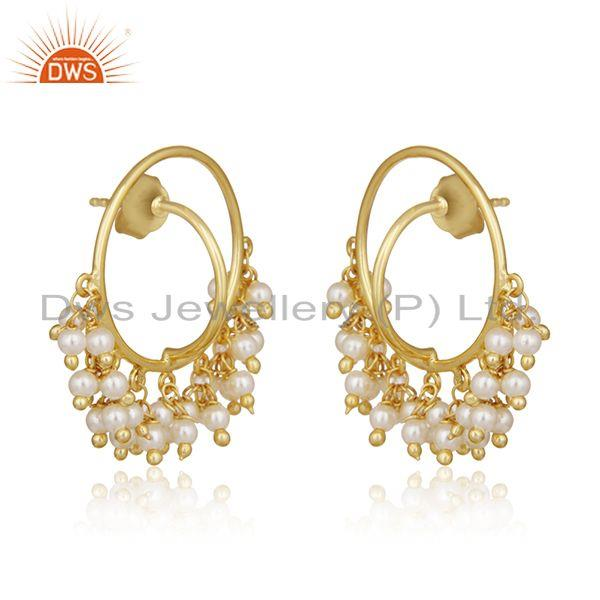 Exporter Natural Pearl Gold Plated 925 Silver Designer Earrings Manufacturer of Jewelry