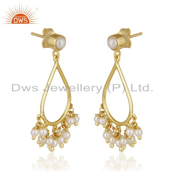 Exporter 14k Gold Plated Sterling Silver Natural Pearl Traditional Earrings for Wedding