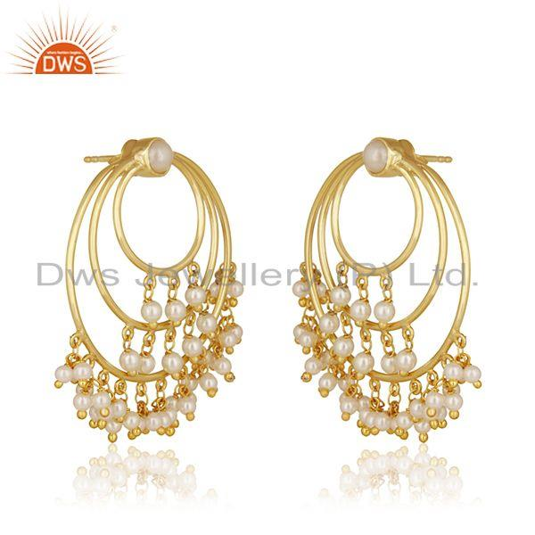 Exporter Natural Pearl Gold Plated Sterling Silver Traditional Earrings For Wedding