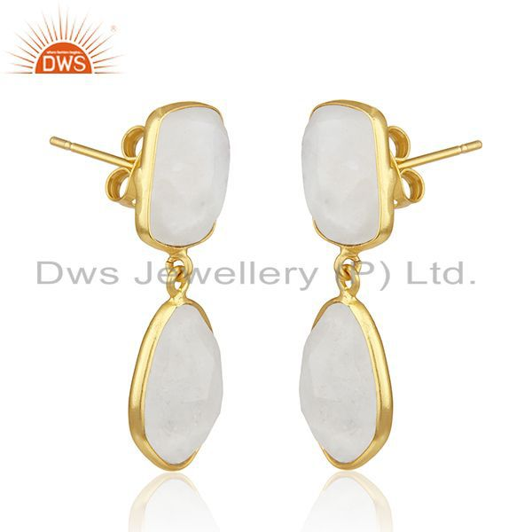 Exporter Rainbow Moonstone Gold Plated Brass Fashion Handmade Earrings Manufacturer India
