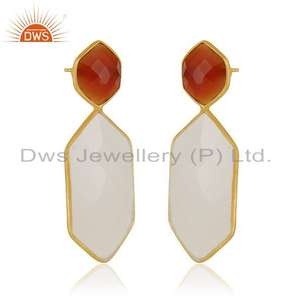 Exporter Carnelian and White Chalcedony Gemstone 925 Silver Earrings Manufacturer