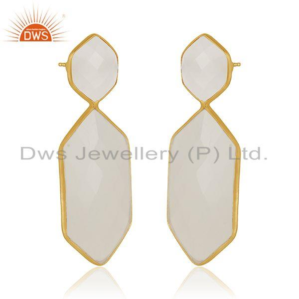 Exporter White Chalcedony Gemstone Gold Plated Sterling Silver Handmade Earrings Supplier