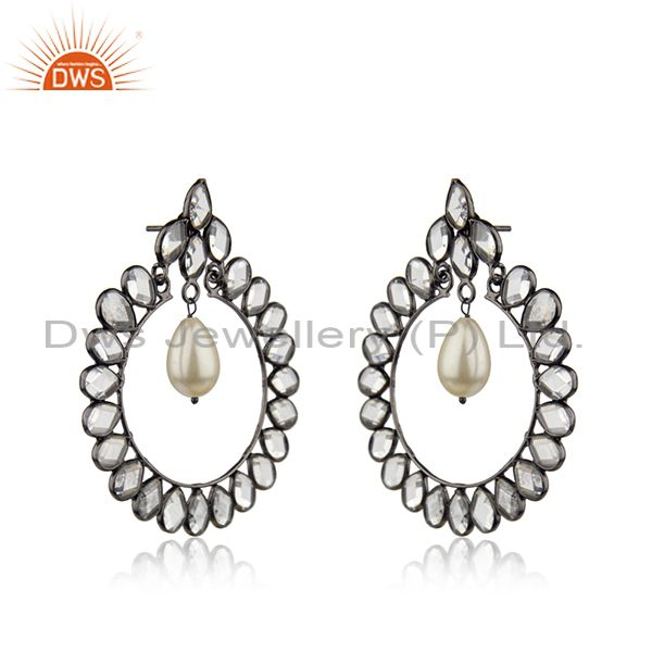 Exporter CZ Natural Pearl Gemstone Silver Earring Jewelry Supplier