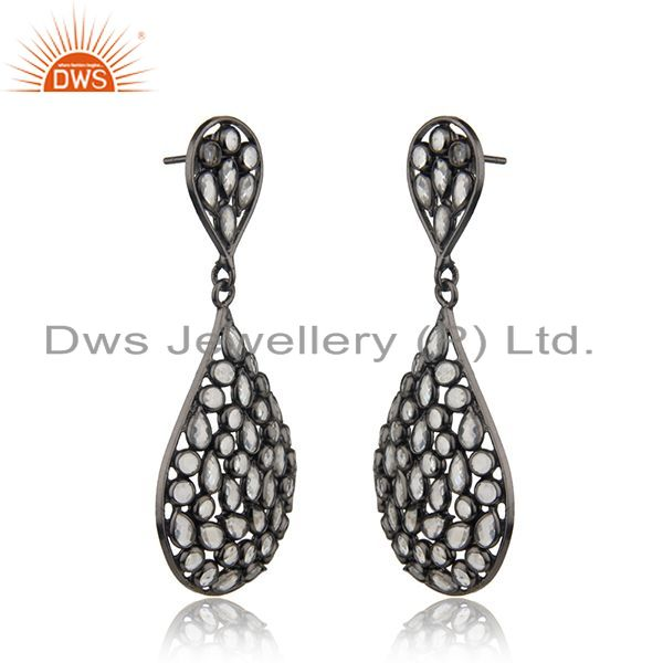 Exporter Rhodium Plated Silver CZ Beaded Drop Earring Jewelry