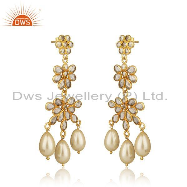 Exporter Zircon Natural Pearl Gemstone Silver Gold Plated Earrings Jewelry