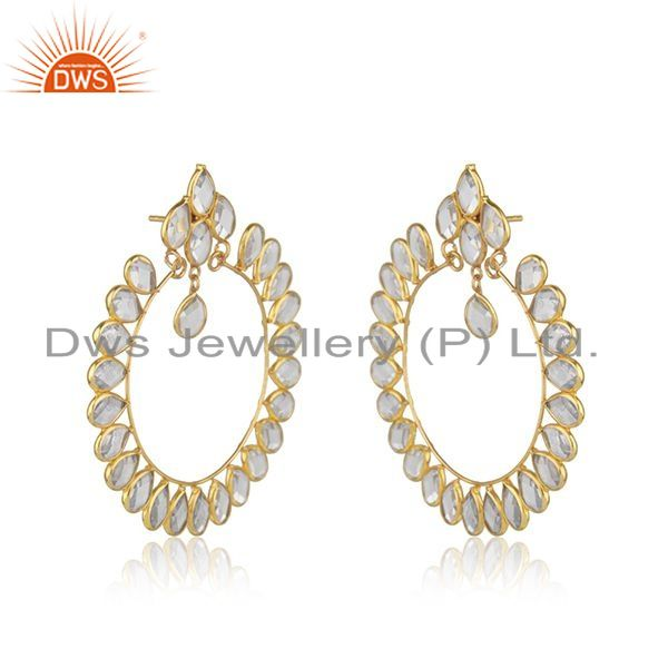 Exporter Gold Plated 925 Silver CZ Designer Indian Earring Jewelry