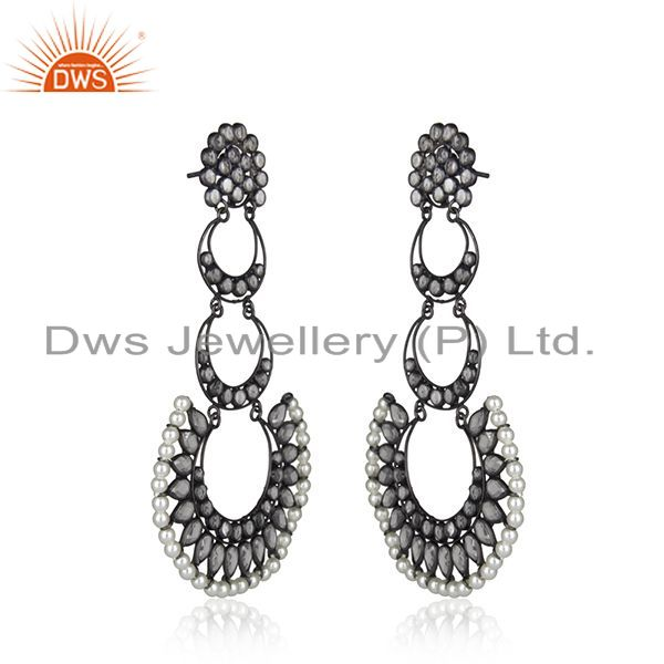 Exporter Indian Rhodium Plated Silver CZ Pearl Earring Jewelry
