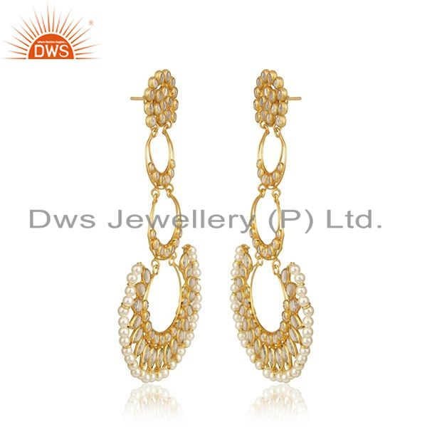 Exporter CZ Natural Pearl Gemstone Gold Plated Silver Dangle Earring Jewelry