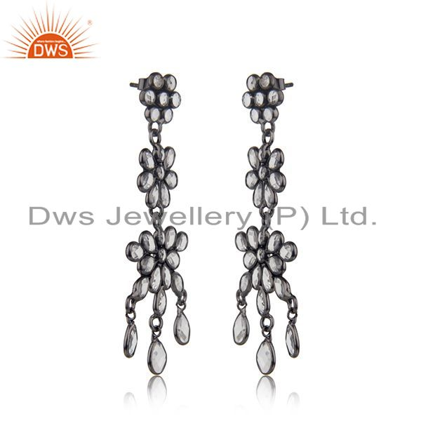 Exporter Designer Rhodium Plated CZ Earrings Jewelry Manufacturer