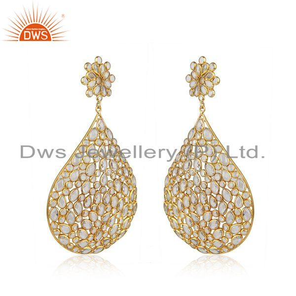 Exporter Gold Plated Silver Traditional CZ Beaded Earrings Jewelry