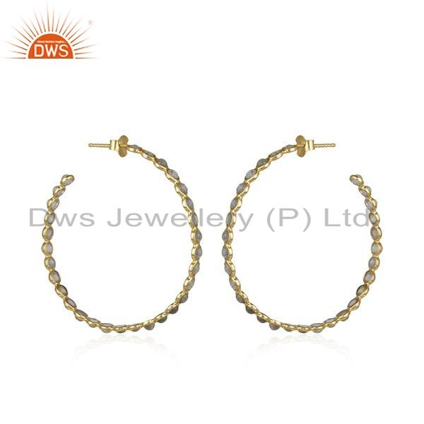 Exporter Gold Plated Silver Womens Earrings Labradorite Gemstone Jewelry
