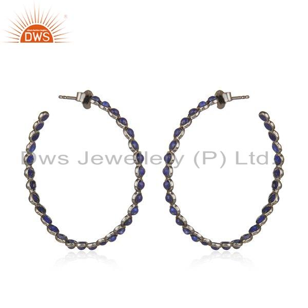 Exporter Black Rhodium Plated Silver Lapis Gemstone Hoop Earrings Jewelry