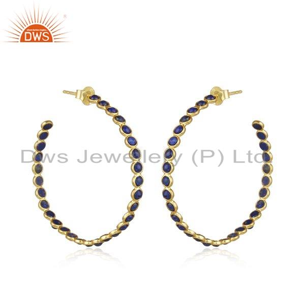 Exporter Natural Lapis Gemstone Yellow Gold Plated Silver Hoop Earrings Jewelry