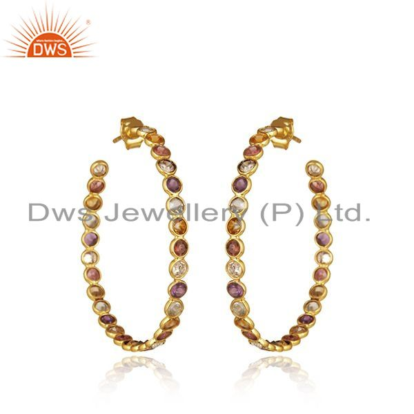 Exporter Natural Multi Gemstone Gold Plated 925 Silver Hoop Earring Supplier