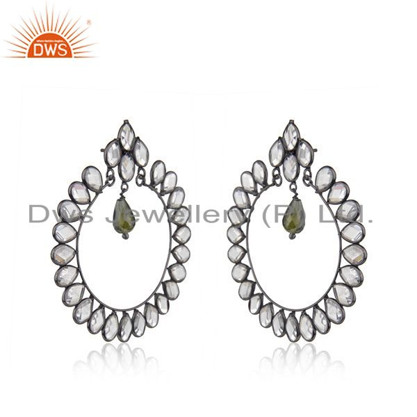 Exporter New Rhodium Plated Designer SIlver CZ Earrings Jewelry Supplier