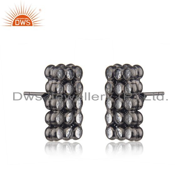 Exporter White Zircon Sterling Silver Black Stud Earrings Jewelry Manufacturer India