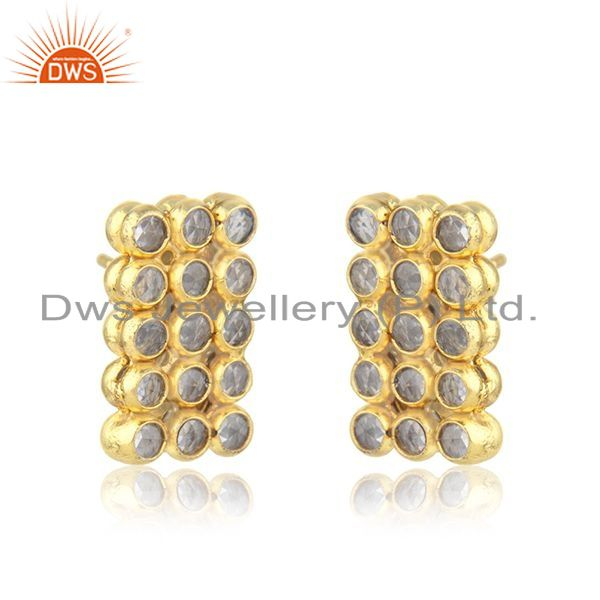 Exporter White Zircon 925 Silver Gold Plated Stud Earrings Manufacturer India