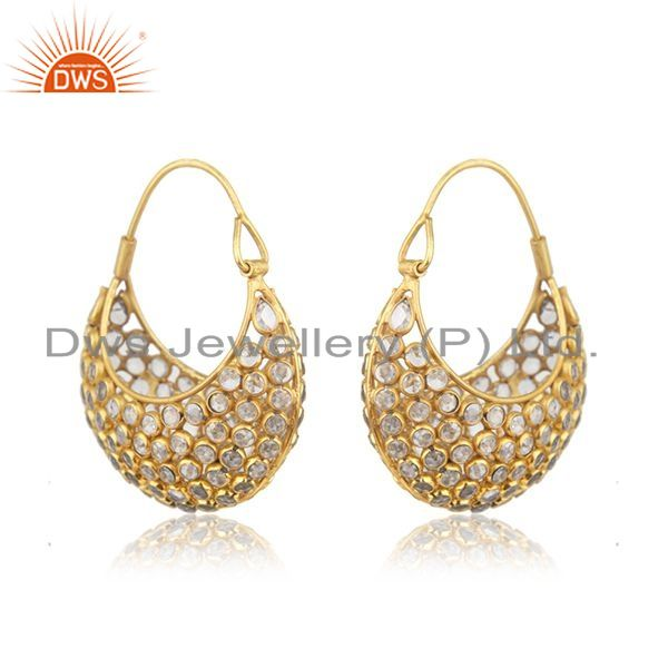 Exporter Yellow Gold Plated Silver CZ Beaded Gemstone Bali Earrings Jewelry