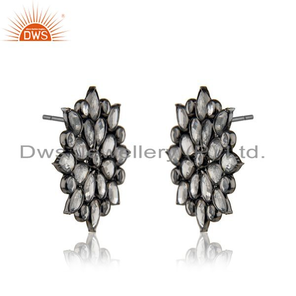 Exporter BLack Rhodium Plated Silver Zircon Gemstone Floral Stud Earring Jewelry