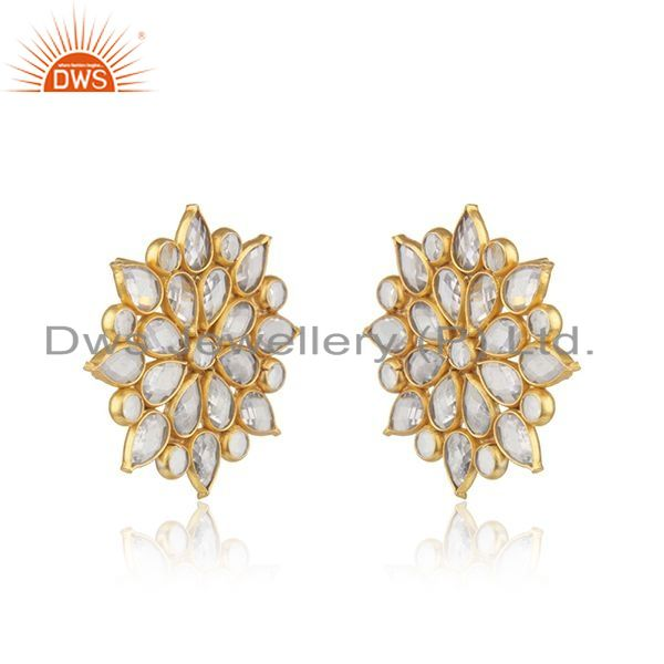Exporter Floral Gold Plated Silver CZ Beaded Gemstone Stud Earrings Jewelry