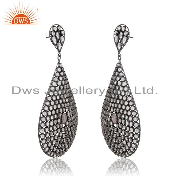Exporter White Zircon Rhodium Plated 925 Silver Earrings Jewelry Manufacturer