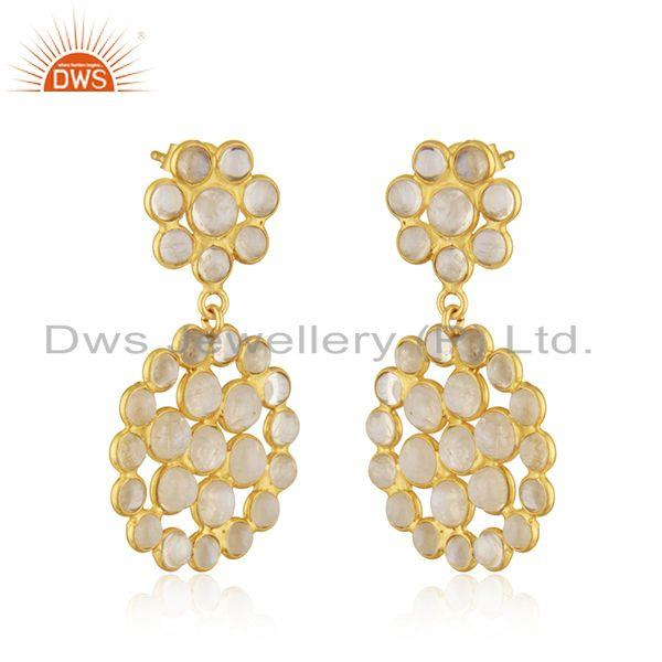 Exporter Gold Plated Designer Silver Rainbow Moonstone Gemstone Earrings Jewelry Supplier