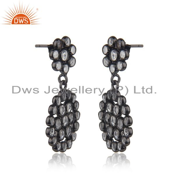 Exporter New Designer Silver Rhodium Plated Silver CZ Earrings Jewelry