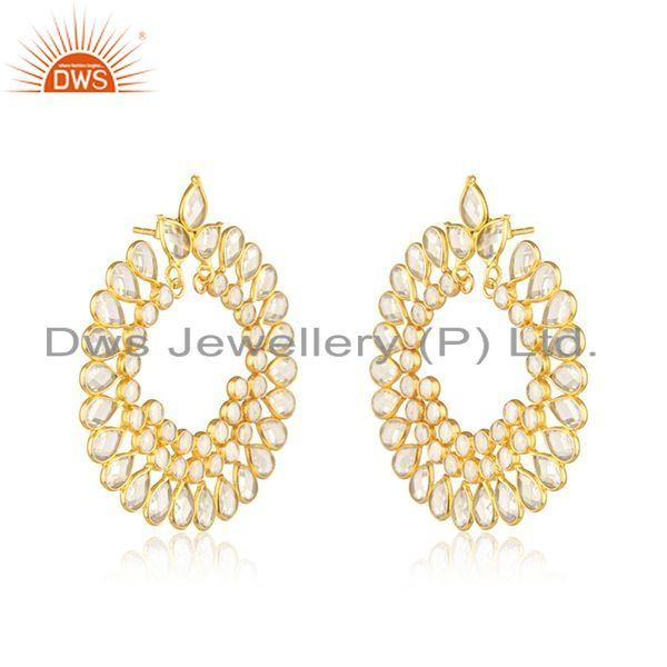Exporter White Zircon Designer Chand Bali Silver CZ Earrings Jewelry