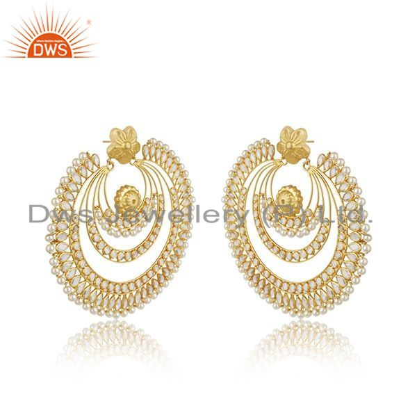 Exporter Natural Pearl CZ Gemstone Gold Plated Silver Earring Supplier