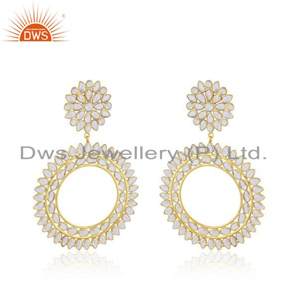 Exporter New Silver Gold Plated Designer CZ Indian Earrings Jewelry