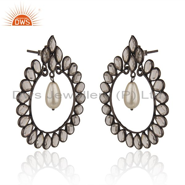Exporter Black Rhodium Plated 925 Silver Pearl Earrings Manufacturer of Girls Jewelry