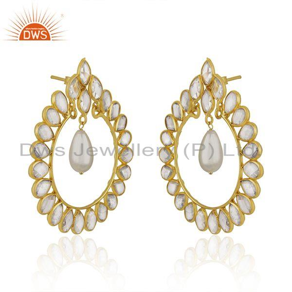Exporter White Zircon and Pearl Gemstone Gold Plated 925 Silver Earrings Manufacturer
