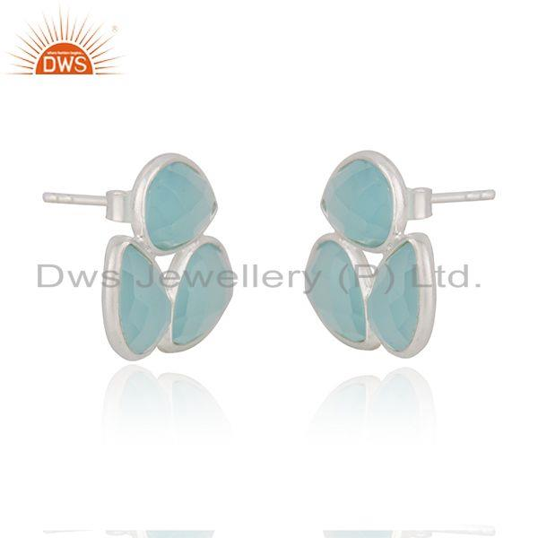 Exporter Aqua Chalcedony Gemstone Fine Sterling Silver Stud Earring Manufacturer India