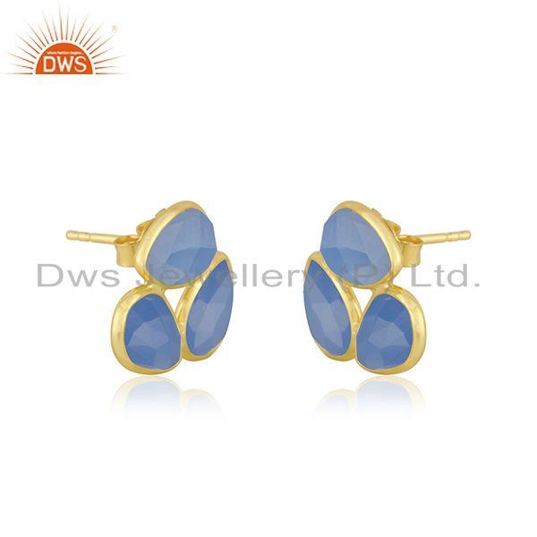 Exporter Yellow Gold Plated Silver Blue Chalcedony Gemstone Stud Earrings Supplier