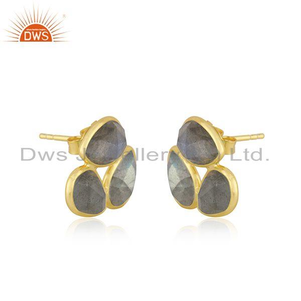 Exporter Labradorite Gemstone Gold Plated 925 Silver Stud Earrings Jewelry