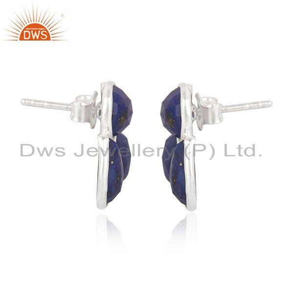 Exporter Natural Lapis Lazuli Gemstone Fine Sterling Silver Stud Earring Wholesale India