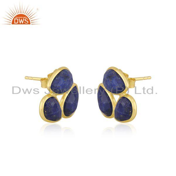 Exporter Natural Lapis Gemstone Designer Yellow Gold Plated Silver Stud Earrings