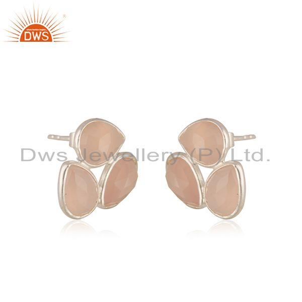 Exporter Rose Chalcedony Gemstone 925 Sterling Silver Stud Earrings Manufacturer India